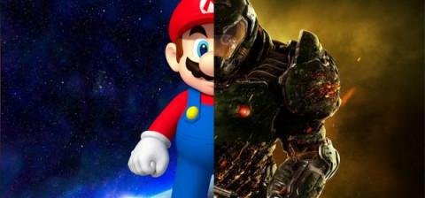 mario vs een monster uit een game